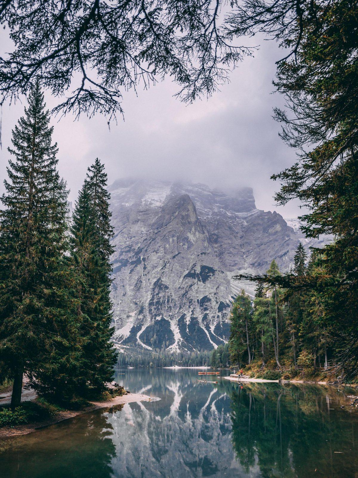Mountain over lake