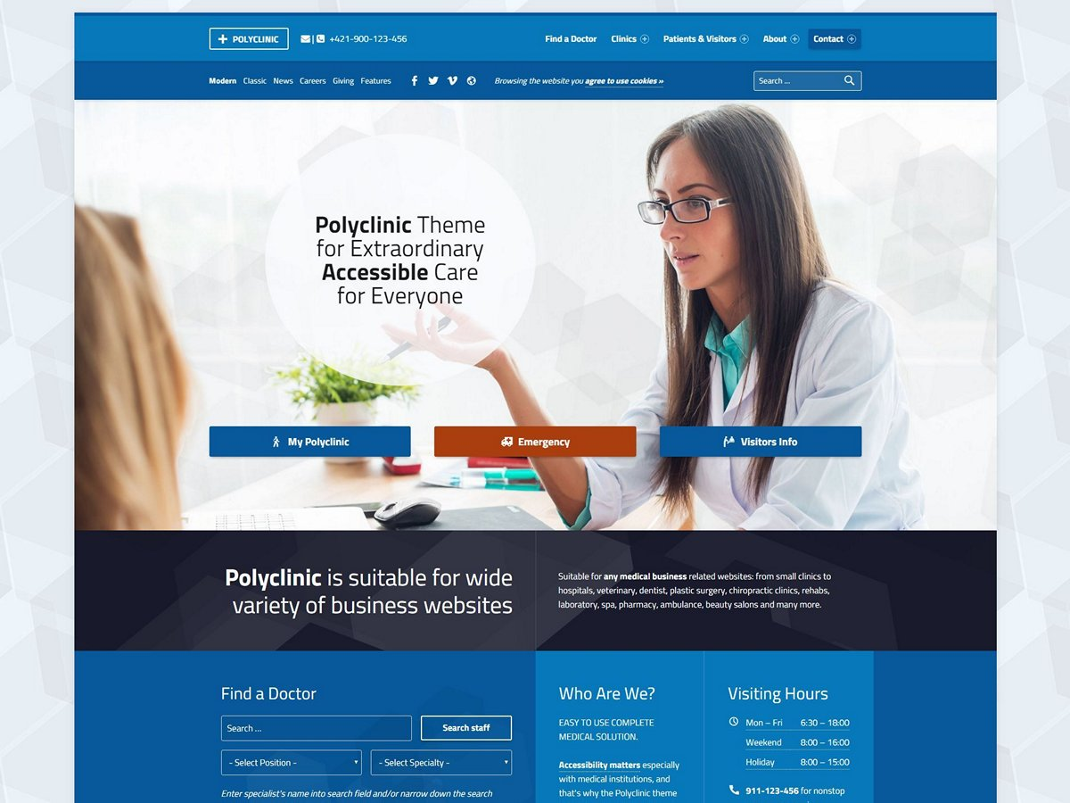 Polyclinic Theme Demo Website